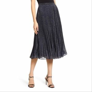 Chelsea28 Pleated Shimmering Midi Skirt